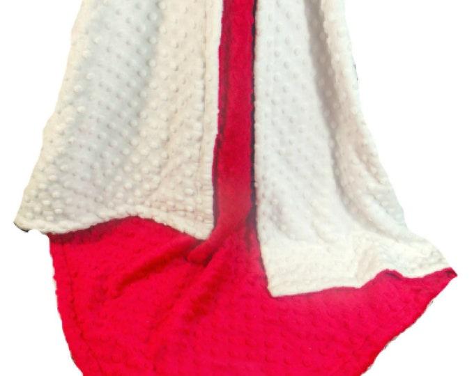Red White Minky Dot Baby Blanket