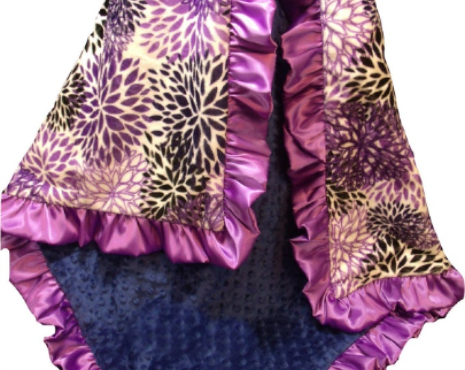 Purple Baby Girl Blanket, Floral Baby Blanket, Lavender Swaddle Blanket
