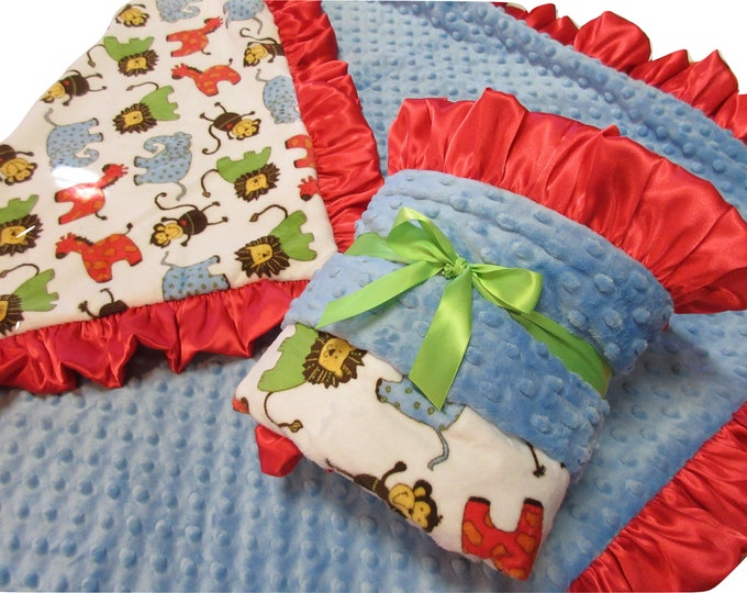 Minky Baby Blanket, Red and Blue Jungle Blanket, Red and Blue Woodland Animals Blanket, Safari Theme