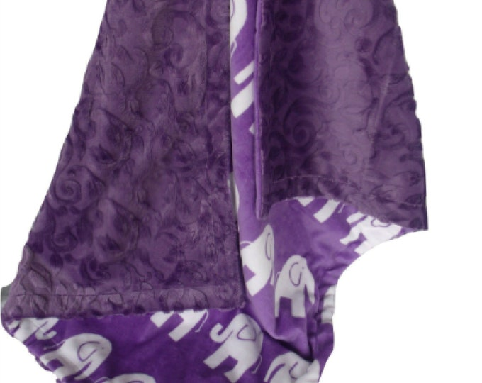 Purple Elephant Minky Baby Blanket, Orchid Elephant Minky, available in three sizes
