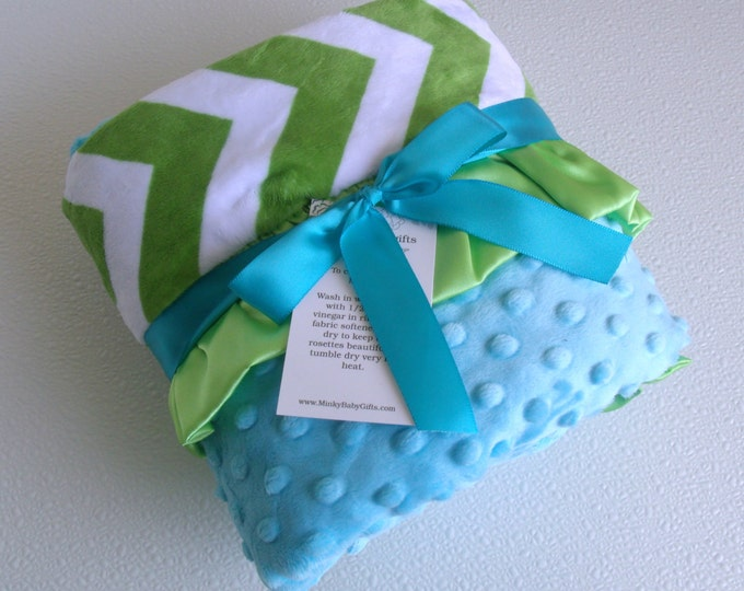 Lime Green and Aqua Minky Dot Baby Blanket