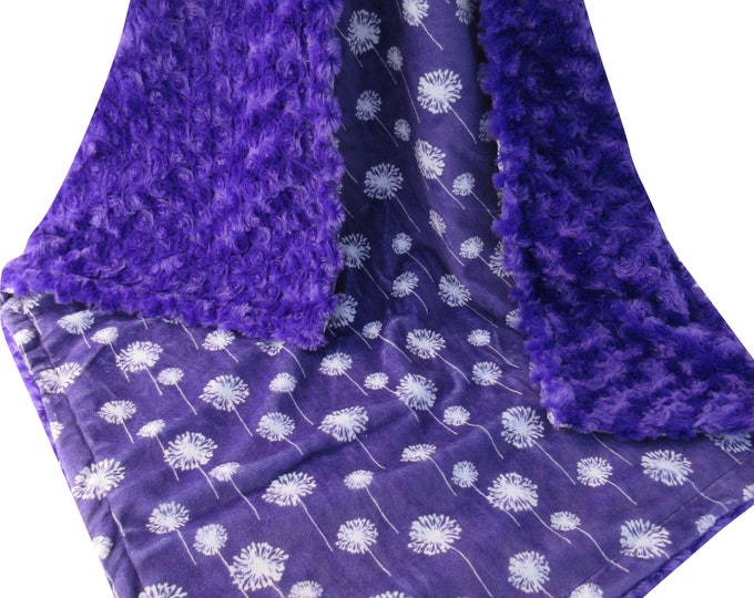 Purple Rose Swirl and Purple Dandelion Minky Baby Blanket In stock, Ready to Ship