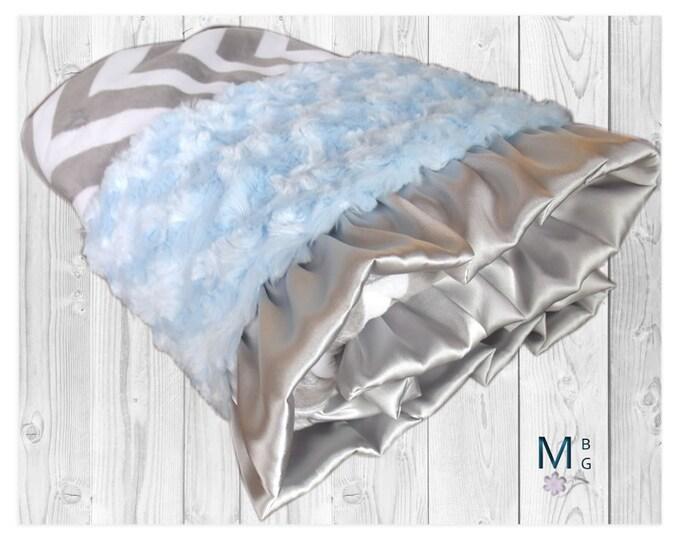 Blue Rose Swirl and Gray Chevron Minky Baby Blanket, Gray Chevron Blanket, Baby Blanket