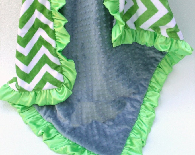 Bright Green Chevron Minky Baby Blanket, personalized