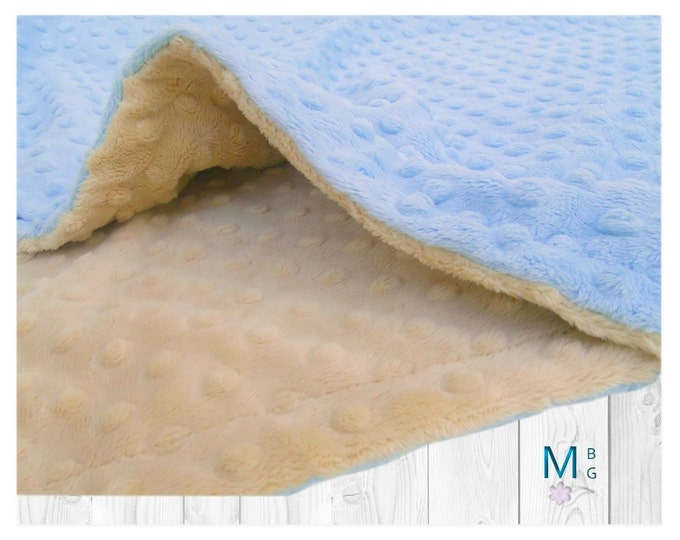 Blue and Tan Minky Dot Baby Blanket, Latte Brown Minky Blanket, Caramel and Blue Baby Boy Blanket, Minky Baby Blanket