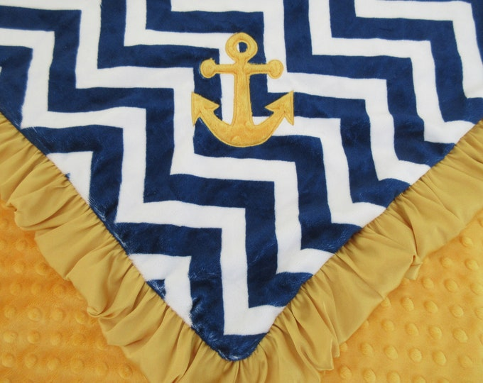 Anchor Applique Yellow Gold and Navy Chevron Minky Minky Baby Blanket, 32 x 38 inches. Nautical Theme Baby Blanket,