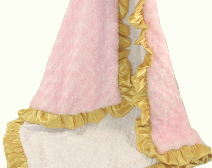 Pink and Gold Minky Baby Blanket, Gold and Light Baby Pink Minky Blanket for Baby Girl,