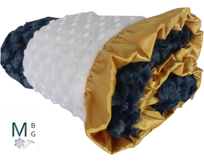 Gold and Navy Minky Baby Blanket, Gold Ruffled and Navy Minky Baby Blanket, Navy Blue and Gold Blanket