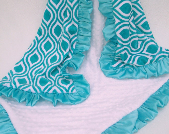 Teal Ruffle Geometric Minky Baby Blanket - personalized