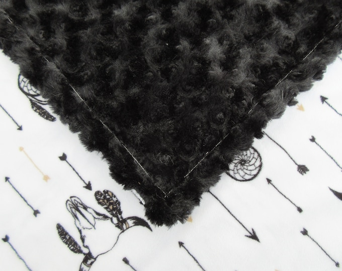 Dreamcatcher Black and White Minky Baby Blanket, In Stock Ready to Ship