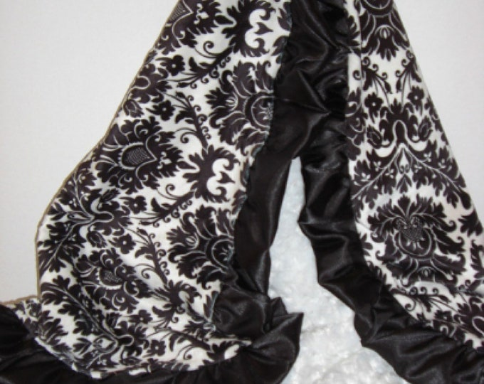 Black Damask White Rose Swirl Minky Baby Blanket, 3 sizes