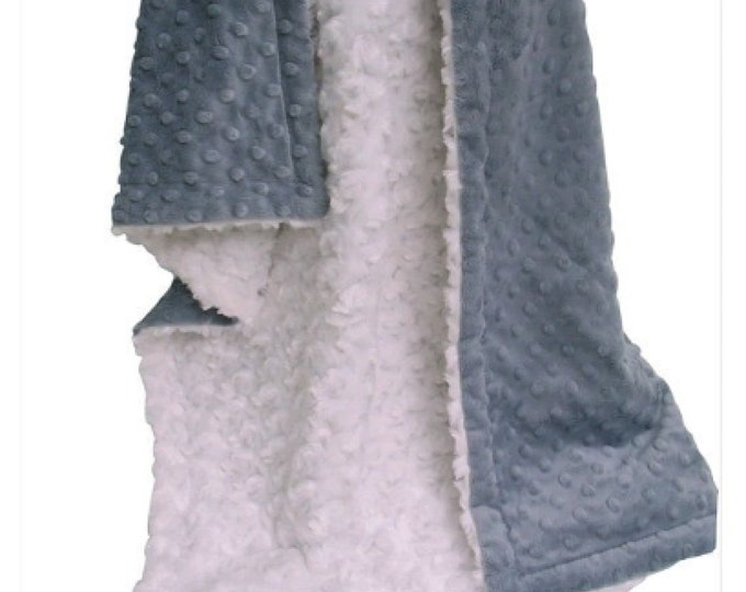 Ivory and Charcoal Gray Minky Baby Blanket, Cream and Charcoal Gray Minky Baby Blanket, Gray Minky Blanket