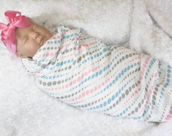 100% Cotton Aqua, Pink, and Gray Muslin Cotton Swaddle Blanket, Matching Hat or Headband Included