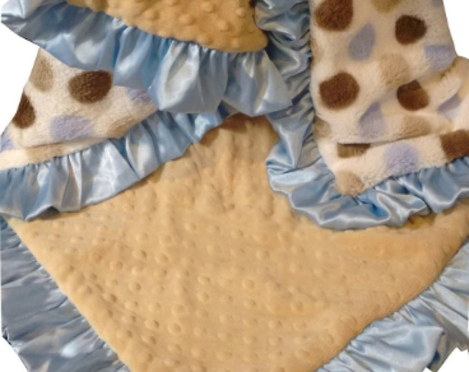 Blue Silky Polka Dot and Caramel Minky Baby Blanket,