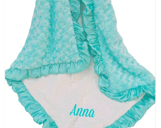 Robin's Egg Blue and Cream Minky Baby Blanket, Pool Green Minky Baby Blanket, Saltwater Minky Baby Blanket