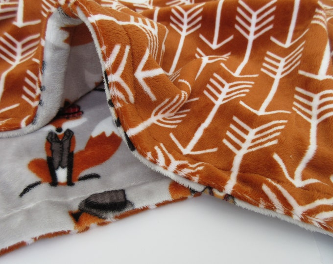 Burnt Orange and Gray Fox Arrow Print Minky Baby Blanket