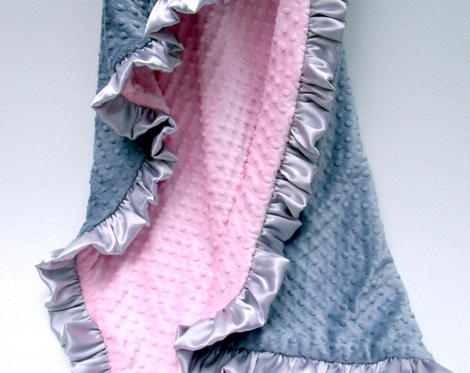 Minky Baby Blanket, Baby Girl Blanket, Pink Gray Quilt, Silver Pink Blanket, Swaddle Blanket 253