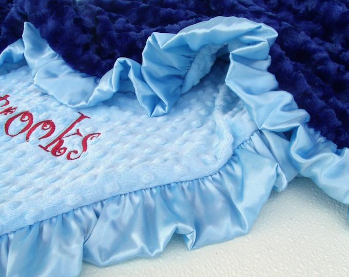 Blue Minky Baby Blanket, Satin Ruffle