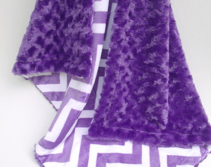 Purple Chevron Minky Baby Blanket, Purple Chevron and Purple Rose Swirl Baby Blanket,