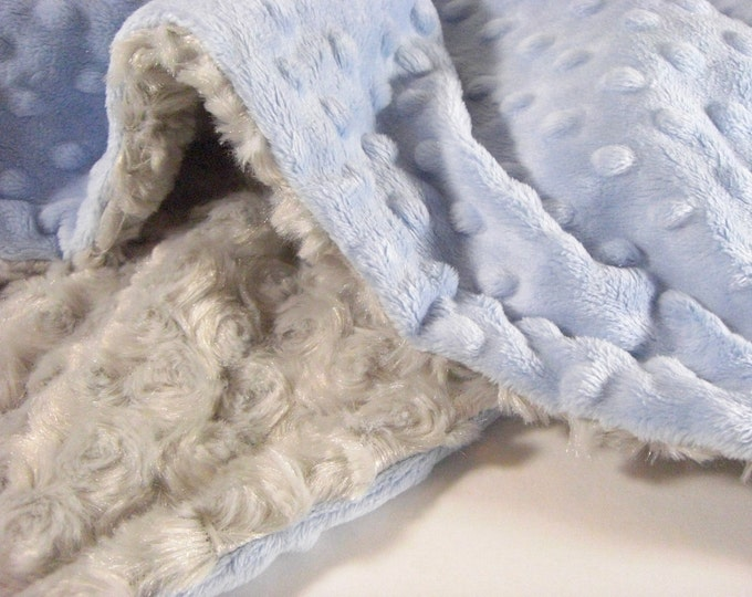 Light Blue and Gray Swirl Minky Blanket for Baby Boy