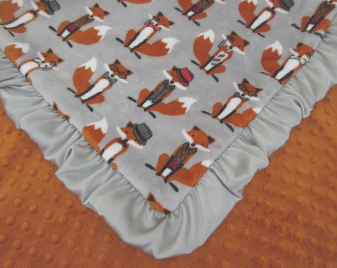 Fox Baby Blanket, Fox Minky Baby Blanket, Woodland Animal, Fox Theme Nursery, Orange Gray Blanket,