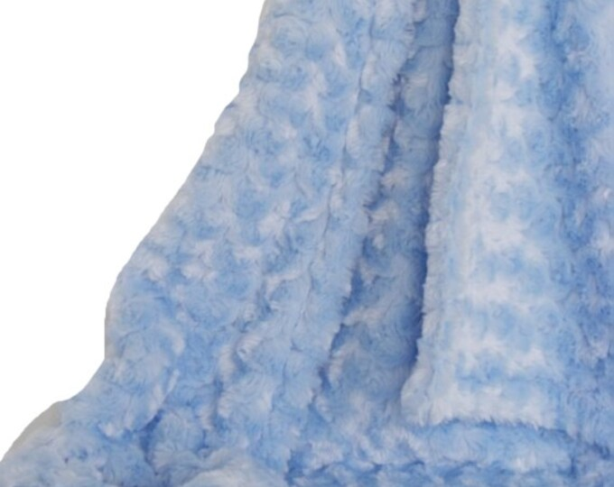 Blue Plush Rose Swirl Minky Blanket, Luxe Baby Blanket, three sizes