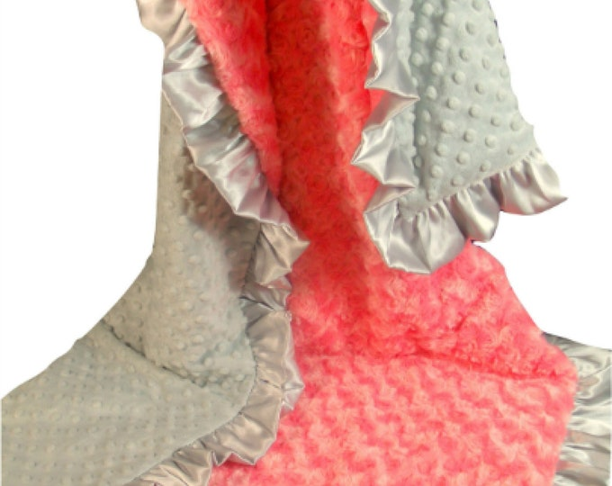 Coral Minky Baby Blanket, Coral Gray Keepsake Blanket, Coral Gray Swaddle Blanket