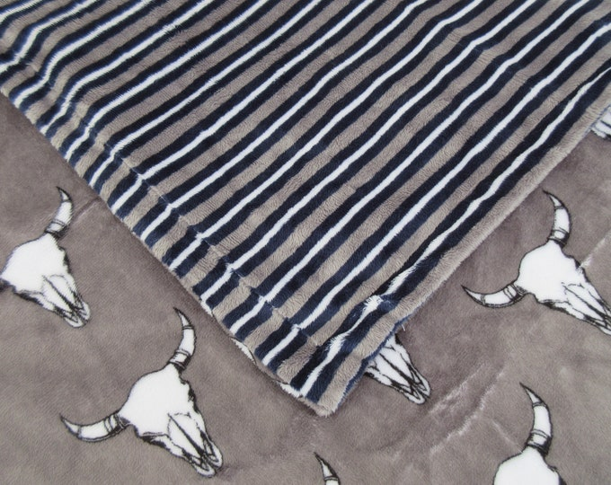 Southwest Cow Skull Gray and Navy Stripe Minky Baby Blanket, In Stock Ready to Ship