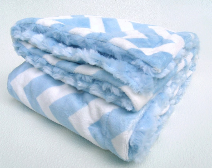 Soft Blue Chevron Minky Baby Blanket with Blue Swirl Back