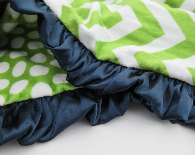 Blue and Green Chevron Minky Baby Blanket, Satin Ruffle