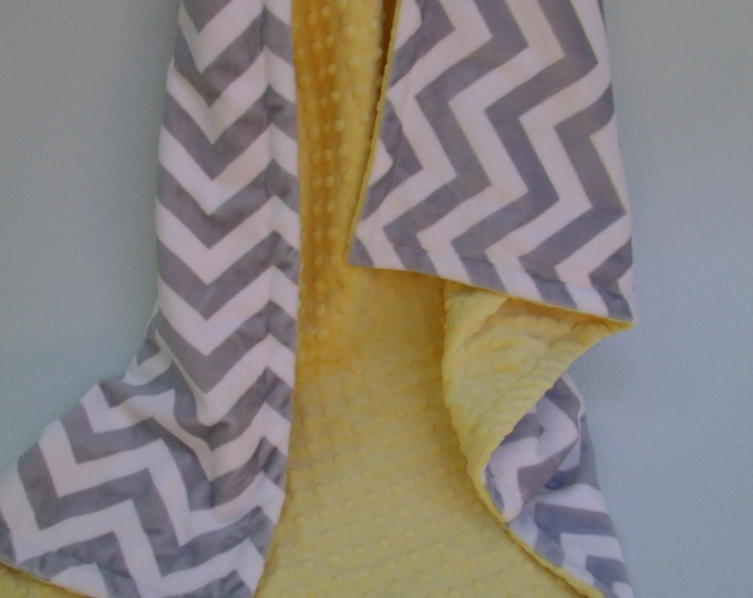 Saffron Yellow Minky Dot  with Gray Chevron Blanket for baby Toddler or Adult