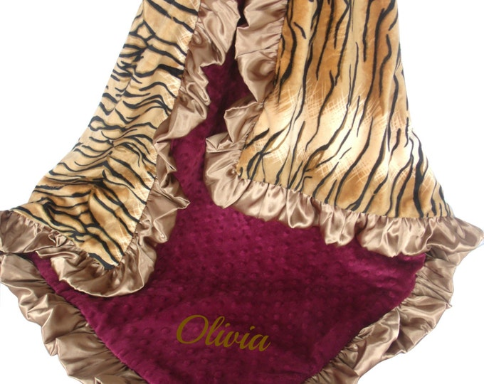 Burgundy and Gold Minky Baby Blanket, Wine and Tiger Print Baby Blanket, Crib Blanket, Baby Blanket, or Lovey choose your size