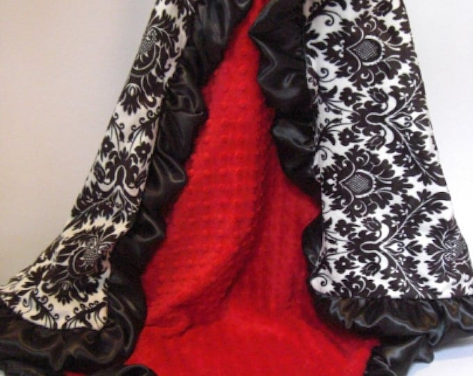 Red dot and Black and White Damask Minky Baby Blanket, Baby or Toddler