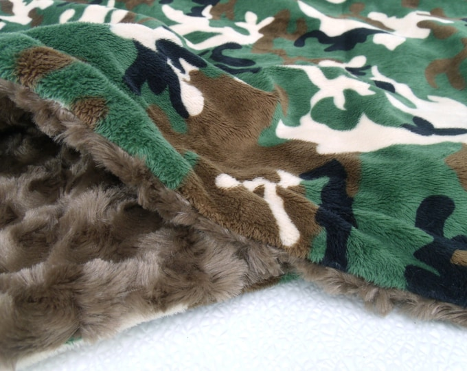 Green and Brown Camouflage Minky Dot Baby Blanket, available in three sizes