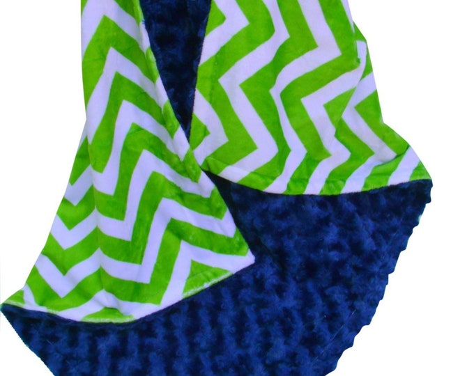 Navy Blue Minky Dot and Lime Green Chevron Minky Baby Blanket, three sizes
