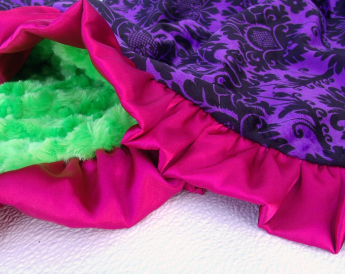 Hot Pink, Purple Damask, and Lime Green Minky Dot Baby Blanket