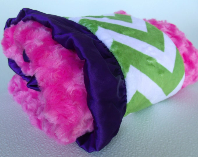 Hot Pink and Green Chevron Minky Baby Blanket With Purple Satin