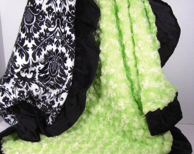Kiwi Apple Green and Black Damask Minky Baby Blanket - personalized