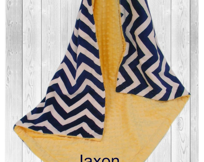 Navy and Yellow Minky Baby Blanket, Navy Chevron with Saffron Yellow Minky, Double Minky Blanket
