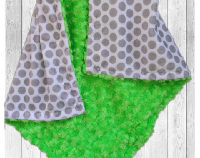 Green Gray Polka Dot  Minky Baby Blanket