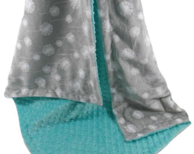Silver Gray Dandelion Print With Breeze Teal Minky Dot Minky Baby Blanket available in three sizes