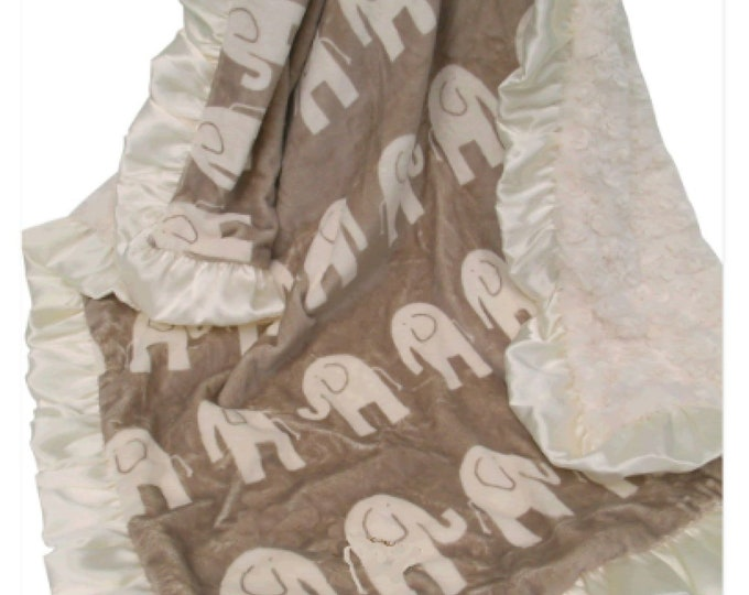 Brown Elephant and Cream Ruffle Minky Baby Blanket, 3 sizes