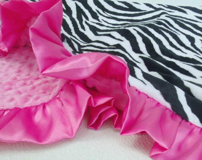 Pink Zebra Minky Blanket - Minky Baby Blanket