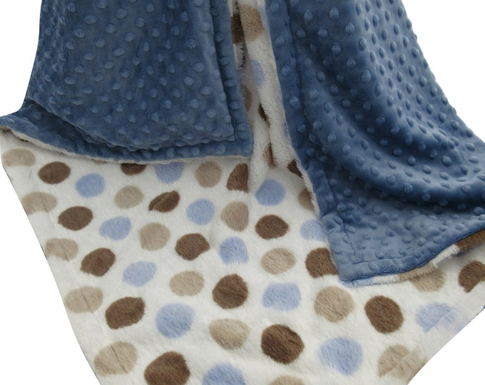 Brown and Blue Retro Dot Minky Baby Blanket