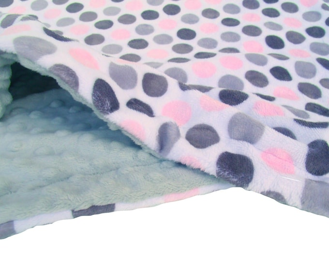 Pink Gray Blanket,  Pink Polka Dot, Kids Minky Blanket, Newborn Swaddle Wrap, Pink Swaddle Blanket