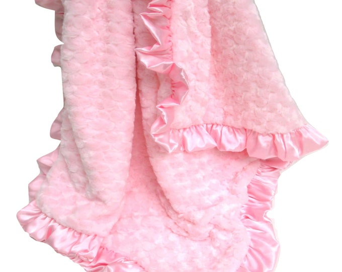 Luxe Pink Rose Swirl Minky Blanket Matching Satin Ruffle, More Colors Available