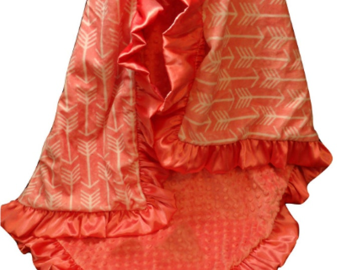 Coral Arrow Personalized Gift Blanket, Custom Minky Baby Blanket, Coral Swaddle Receiving Blanket