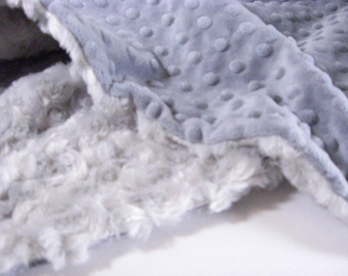 Charcoal Gray Minky Dot and Light Silver Swirl Minky Baby Blanket