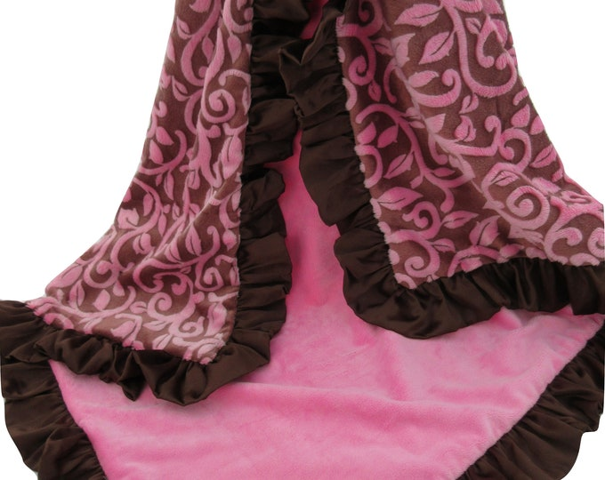 Pink and Brown Vine Minky Baby Blanket Brown, Mar Bella, In Stock Ready to Ship