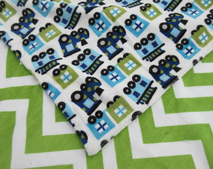 Minky Baby  Chugga Chugga Choo Choo Train Blanket Navy with Green Chevron